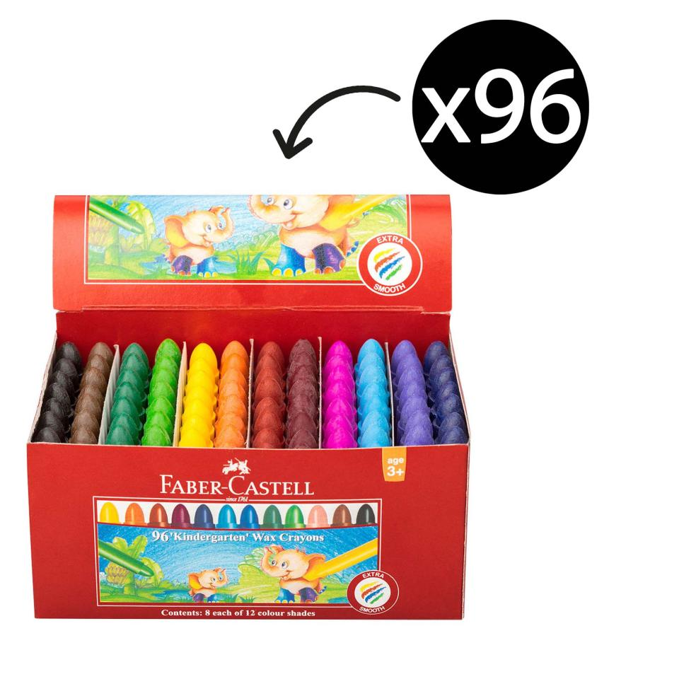 Faber Castell Chublet Wax Crayon Assorted Colour Box 96