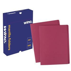 Winc Manilla Folder A4 Red Box 100