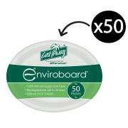 Castaway Enviroboard Oval Paper Plate Medium 265X200X21mm White Pack 50