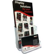 Deflecto Brochure Holder With Business Card Holder Free Standing DL Clear