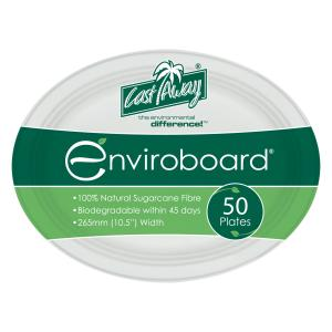 Castaway Enviroboard Oval Paper Plate Medium 265X200X21mm White Pack 50