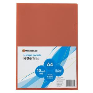 Officemax L Shaped Letter File Pocket A4 Red Pack Of 10