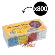 Marbig Paper Clips Assorted Colours Box of 800