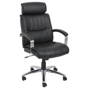 Winc Ambition Aptitude Executive Chair with Fixed Loop Arms and Headrest Black PU