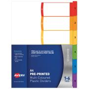 Avery Polypropylene ReadyIndex Dividers - 1-6 Tabs - Bright Multi-coloured (L7411-6)