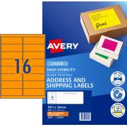 Avery Fluoro Orange Shipping Labels for Laser Printers - 99.1 x 34mm - 400 Labels (L7162FO)