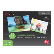 GBC A3 80 Micron Gloss Laminating Pouches Pack 100