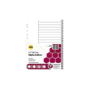 Marbig A4 Divider Plastic A4 A-Z Tab Grey