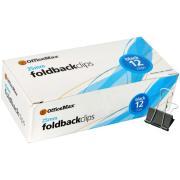 Officemax Metal Foldback Clip 25mm Black/silver Pack Of 12