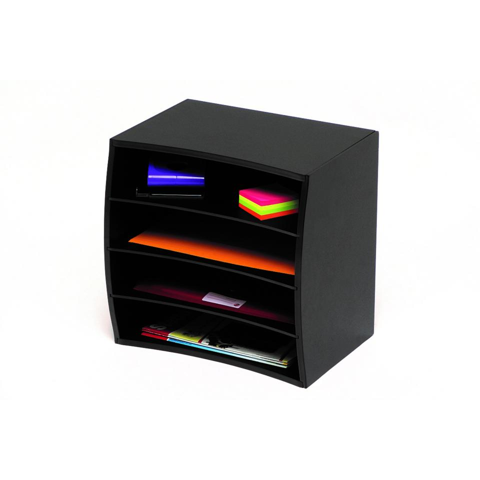 Marbig Wood Desktop Stor-A-File 4 Tier Black