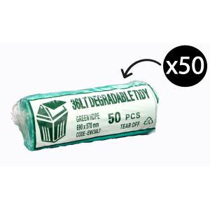 Austar Bin Liners Kitchen Tidy EPI 36 Litre Green Roll 50