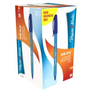 PaperMate Inkjoy 100 Ballpoint Pen Medium 1.0mm Blue Box 50