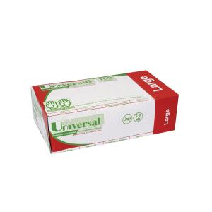 Universal Vinyl Low-Powdered Exam Gloves Clear Large Box 100