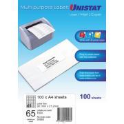 Unistat 38965 Labels 38.1 x 21.2mm 65 Sheet Pack 100