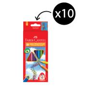 Faber-Castell Triangular Junior Coloured Pencils Pack 10