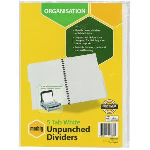 Marbig Dividers Manilla Unpunched A4 White 5 Tab