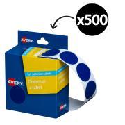Avery Blue Circle Dispenser Labels 24mm Diameter 500 Labels