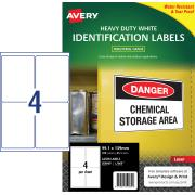 Avery White Heavy Duty Labels for Laser Printers - 99.1 x 139mm - 100 Labels (L7069)