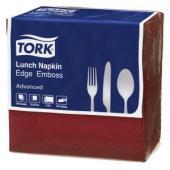 Tork Lunch Napkin Edge Emboss 2 Ply Quarterfold 310X310mm Burgundy Pack 100