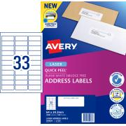 Avery Address Labels with Quick Peel for Laser Printers - 64 x 24.3mm - 3300 Labels (L7157)