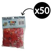 Telkee Key Tags Square Numbered 1-50 Red