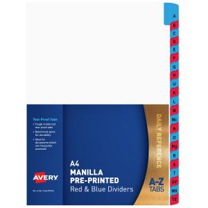 Avery Pre-printed Dividers - Red & Blue - A-Z Tabs