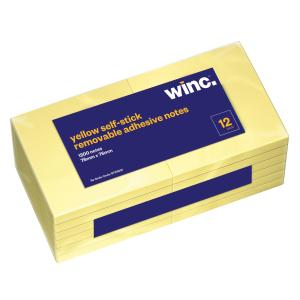 Winc Self-Stick Removable Notes 76X76mm Yellow 12 Pads Pack