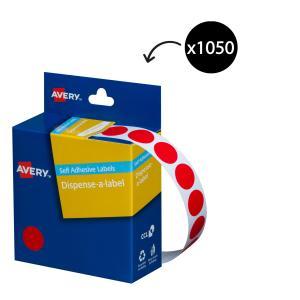 Avery Red Circle Dispenser Labels - 14mm diameter - 1050 Labels