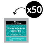 Dilmah Exceptional Fragrant Jasmine Green Tea Enveloped Pyramid Tea Bags Box 50
