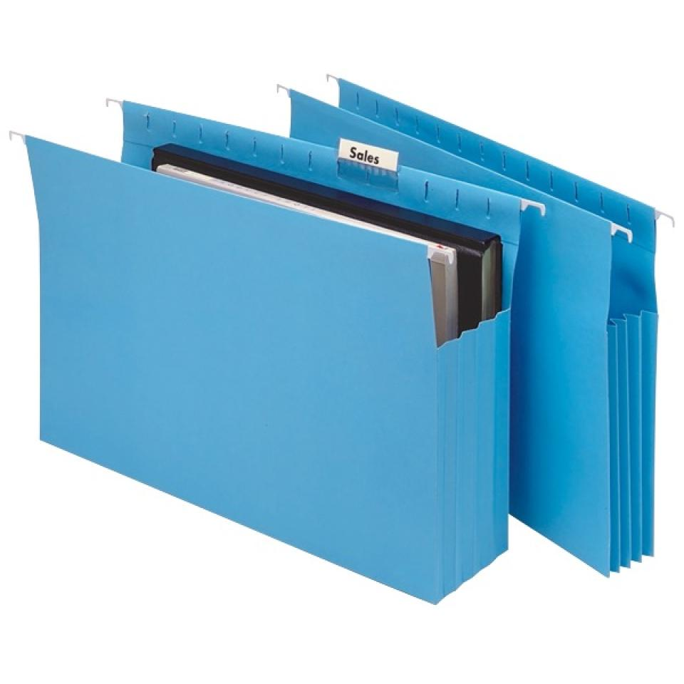 Marbig 90mm Expanding Suspension File Foolscap Blue Box 20