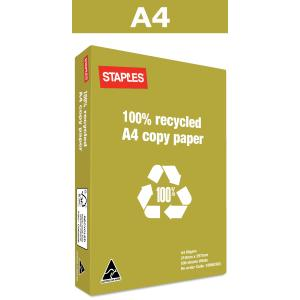 Staples 100% Recycled A4 Copy Paper 80gsm White Box 5 Reams