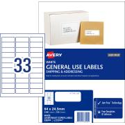 Avery General Use Labels - 64 x 24.3mm - 3300 Labels (L7157GU)