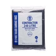 Austar Bin Liners Contractor Heavy Duty 240 Litre Black Packet 25 Carton 100