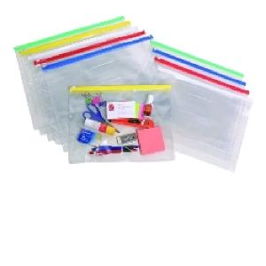 Marbig Document Case Ziplock Clear A4 Assorted Colours