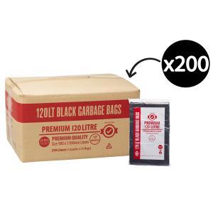 Austar Bin Liners Premium Heavy Duty 120 Litre Black Packet 25 Carton 250