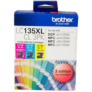 Brother LC135XLCL-3PK 3 Colour Ink Cartridges - 3-Pack