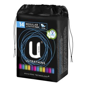 U By Kotex Ultrathin Pads Regular with No Wings Pack 14 Carton Of 6