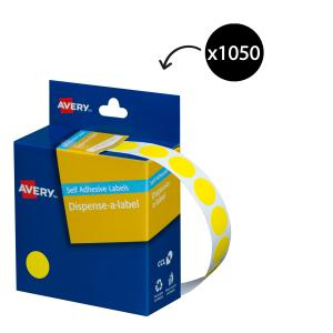 Avery Yellow Circle Dispenser Labels - 14mm diameter - 1050 Labels