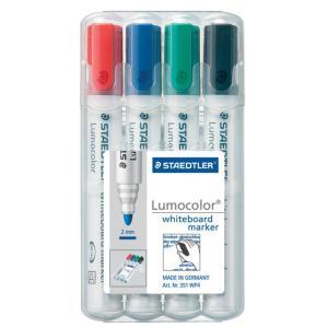 Staedtler 351 Lumocolor Whiteboard Marker Bullet Tip 2.0mm Assorted Colours Set 4