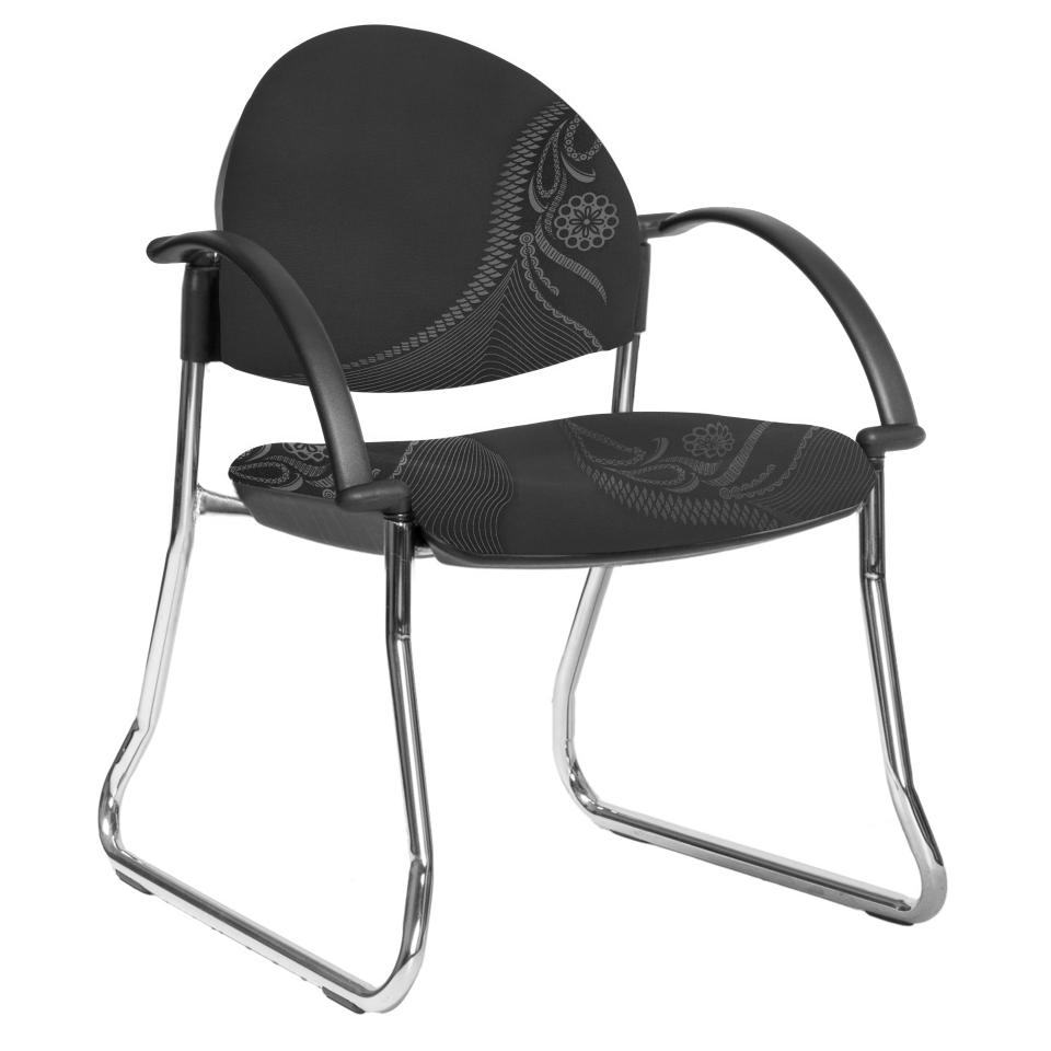 Tjindgarmi Visitor Chair Sled Base with Arms 135kg Weight Rating Greyscale