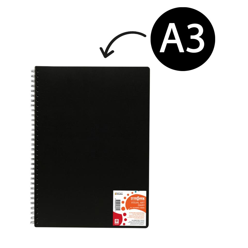 Officemax/teter Mek A3 Visual Art Diary Spiral 110gsm Black Cover 120 Pages