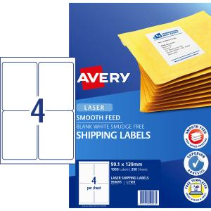 Avery Shipping Labels with Smooth Feed for Laser Printers - 99.1 x 139mm - 1000 Labels (L7169)