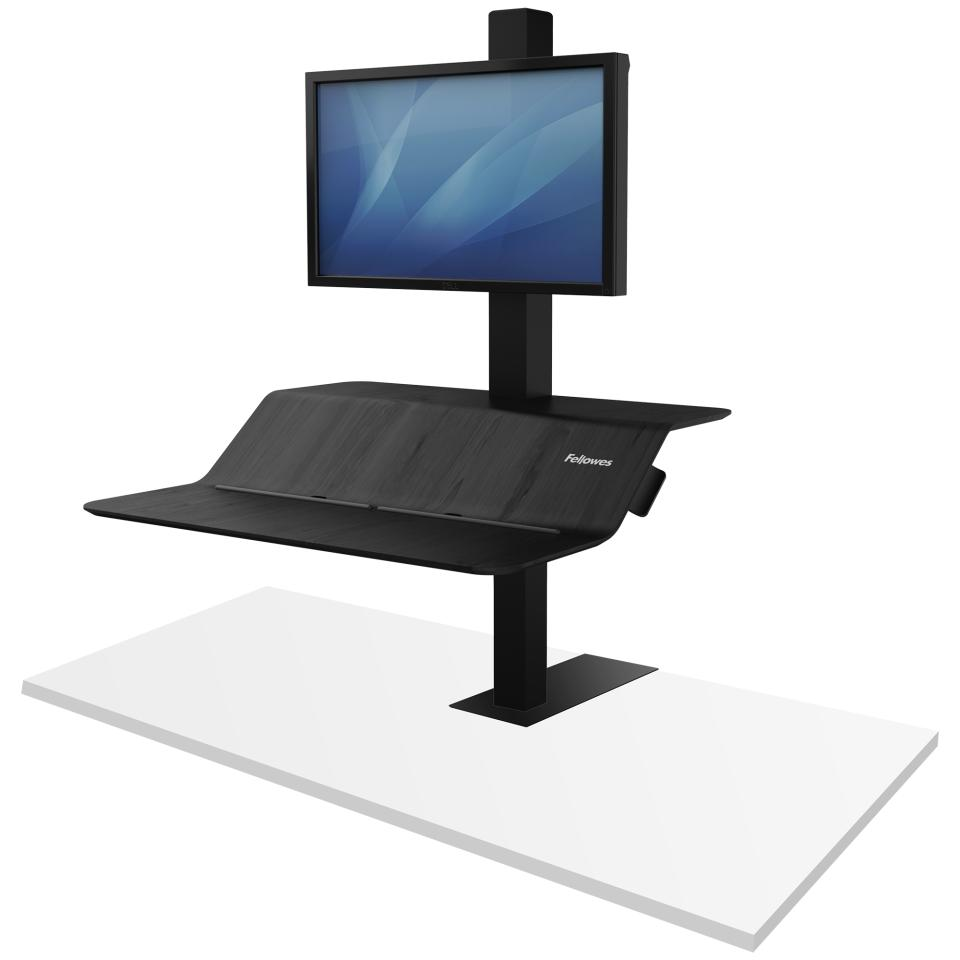 Fellowes Lotus VE Sit Stand Workstation with Single Monitor Arm Black