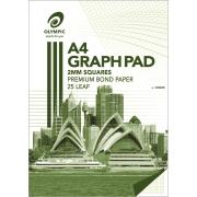 Olympic 23287 Graph Pad A4 2mm Squares 7 Hole 25 Sheets