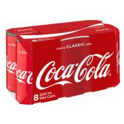 Coca-Cola Slim Line Can 200ml Pack 8