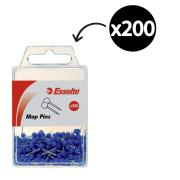 Esselte 46718 Pin Round Head Blue Pack 200