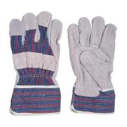 Safechoice Gloves Leather Palm Knuckle Bar Candy Stripe Grey Pair 12 Pack