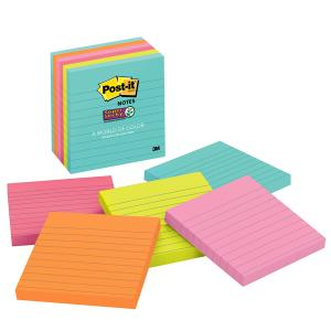 Post-It Super Sticky Lined Notes Miami Collection 100 x 100mm Pack 6