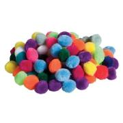 Pom Poms Assorted 25mm Bag 100
