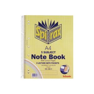 spirax 596c a4 5 subject notebook side opening perforated